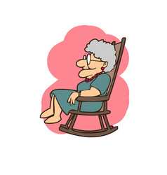 granny in a rocking chair cartoons vector image