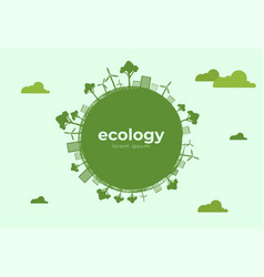 green eco life flat art style vector image