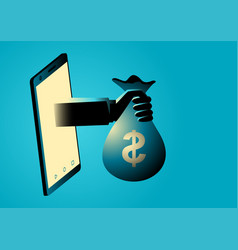 hand holding money bag comes out from smart phone vector image