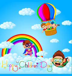 happy childrens day poster with happy kids vector image