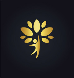 happy man tree organic gold logo vector image