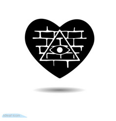 heart icon all-seeing eye a symbol of love vector image