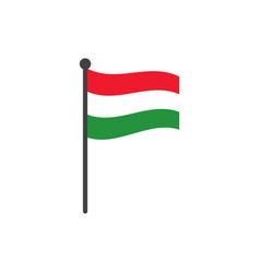 hungary flag with pole icon isolated on white vector image