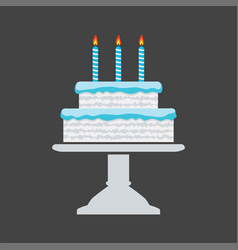 icon blue birthday cake on a stand vector image