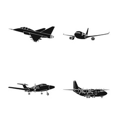 Isolated object plane and transport logo set vector