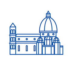 italy temple florence cathedral line icon vector image