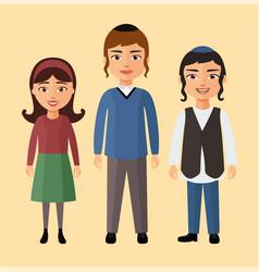 jewish children flat cartoon concept vector image