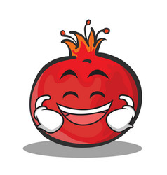 Laughing face pomegranate cartoon character style vector