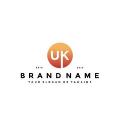 Letter uk logo design vector