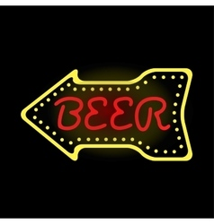 Light neon beer label vector