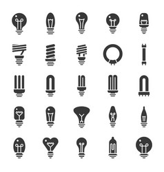 lightbulb icon set solid icon style vector image