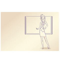 Line drawing - woman with board and pen vector