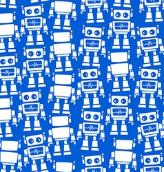 Little robot front and back seamless pattern vector image