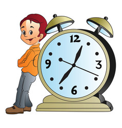 Man leaning on a giant alarm clock vector