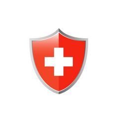 medical cross and shield icon vector image