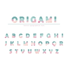Modern origami festive font in pastel colors vector image