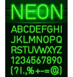 Neon light alphabet vector image