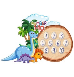 Number to ten dinosaur theme vector