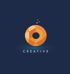 O letter with origami triangles logo creative vector