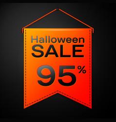 orange pennant with inscription halloween sale vector image