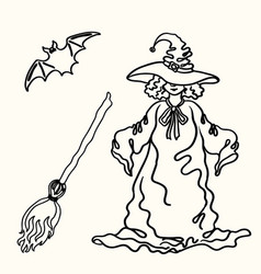 outline halloween witch broom bat silhouette on vector image