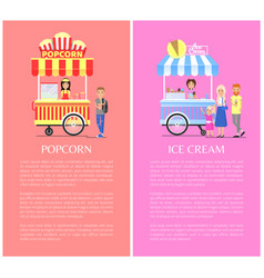 popcorn and ice cream set vector image