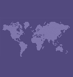 purple hexagonal pixel world map planet earth vector image