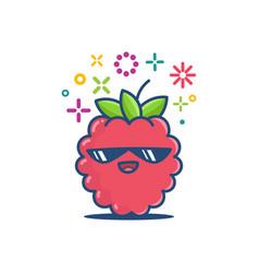 Raspberry kawaii emoticon cartoon vector