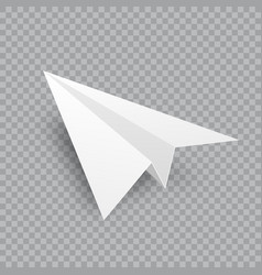 Realistic handmade paper plane on transparent vector