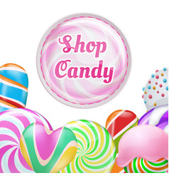 realistic lollipops background - candy shop vector image