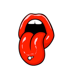 Red lips with tongue vector
