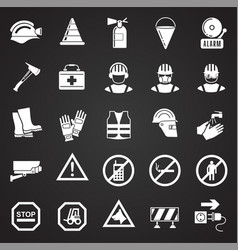 safety icons on black background for graphic and vector image