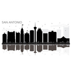 san antonio texas city skyline black and white vector image