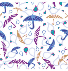 Seamless pattern with umbrellas and rain vector