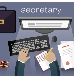 Secretary Work View Top Flat Design vector image