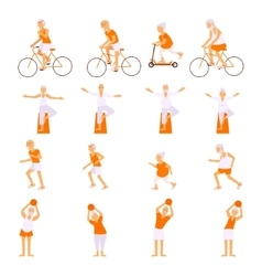 Set elderly people doing exercises vector