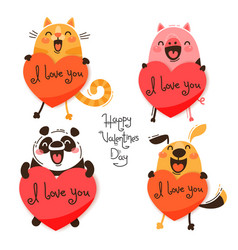 Set of cute animals with valentines funny cat vector