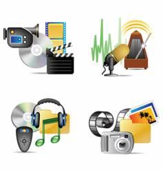 set of multimedia internet icon vector image
