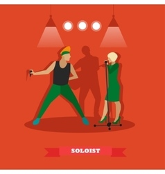 Singer couple sing a song on stage vector image