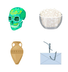 skull bowl of cottage cheese and other web icon vector image