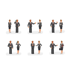 smart businessman and woman characters vector image