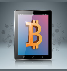 smartphone tablet digital bitcoin icon vector image