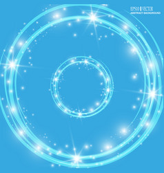 Smooth light blue waves lines and lens flares vector