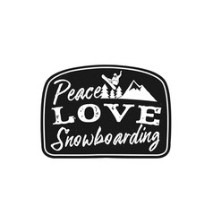 snowboard retro logo with quote - peace love vector image