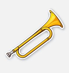 sticker classical music wind instrument trumpet vector image