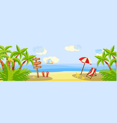 Summer beach vacation horizontal banner with vector