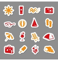 summer stickers collection vector image
