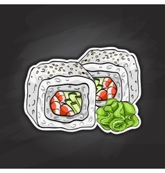 sushi color sketch Boston roll vector image