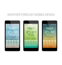 template weather forcast mobile aplication vector image