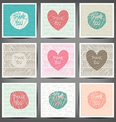 Thank you hand draw card 10 eps Set vector